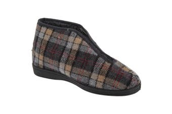 Sleepers Mens Jed II Thermal Zip Check Bootee Slippers (Grey) - UTDF834