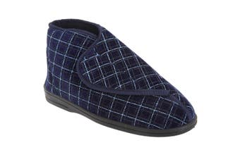 Zedzzz Mens Bertie Check Velour Touch Fastening Bootee Slippers (Navy Blue) - UTDF841