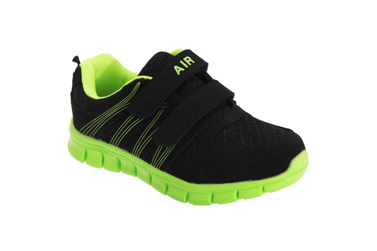 Dek Childrens/Kids Air Sprint Touch Fastening Lightweight Jogger Trainers (Black/Lime) (11 UK Junior)