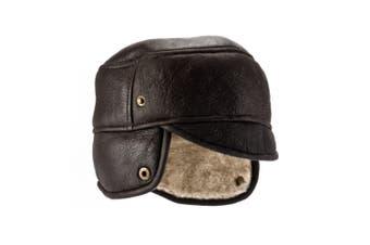 Eastern Counties Leather Mens Caxton Sheepskin Aviator Trapper Hat (Dark Brown Forest) - UTEL125