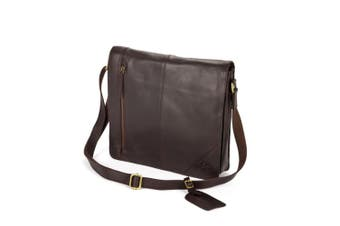 Eastern Counties Leather Wide Messenger Bag (Brown) (One size)