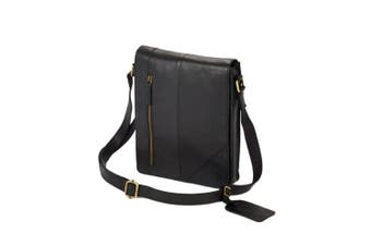 Eastern Counties Leather Wide Messenger Bag (Black) (One size)
