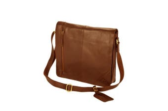 Eastern Counties Leather Wide Messenger Bag (Tan) (One size)