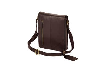 Eastern Counties Leather Narrow Messenger Bag (Brown) (One size)