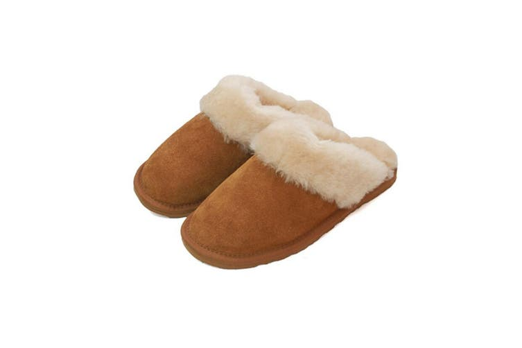 Eastern Counties Leather Womens/Ladies Sheepskin Lined Mule Slippers (Chestnut) (8 UK)