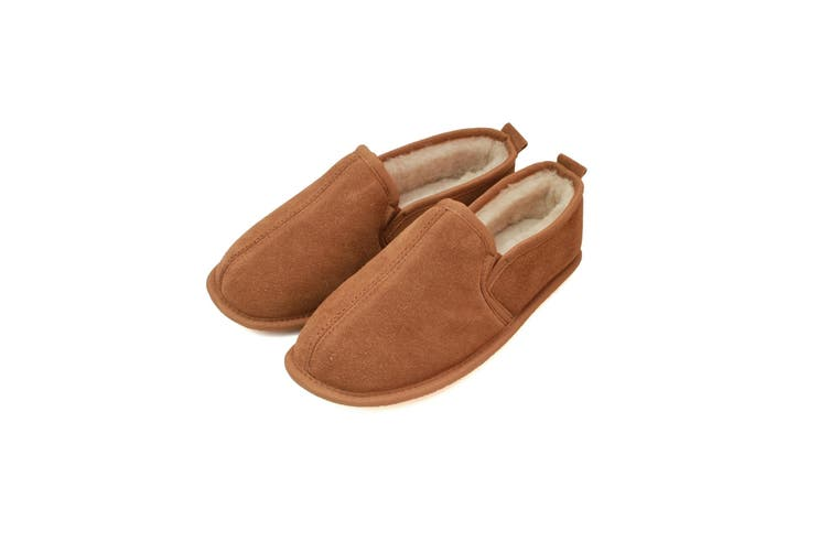 Eastern Counties Leather Mens Sheepskin Lined Soft Suede Sole Slippers (Chestnut) (13 UK)