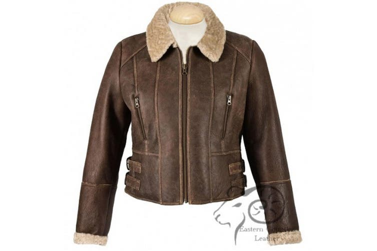 Eastern Counties Leather Womens/Ladies Ella Cropped Sheepskin Flying Jacket (Chocolate Forest) (12)