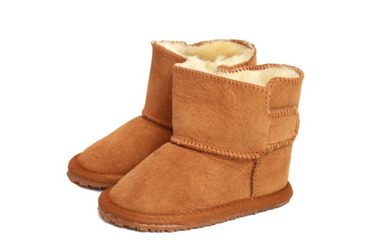 Eastern Counties Leather Baby Frankie Rubber Sole Sheepskin Boots (Tan) (L)