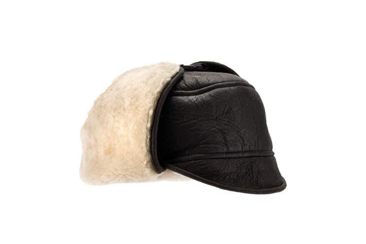 Eastern Counties Leather Mens Harrison Aviator Sheepskin Hat (Dark Brown Forest) (XL)