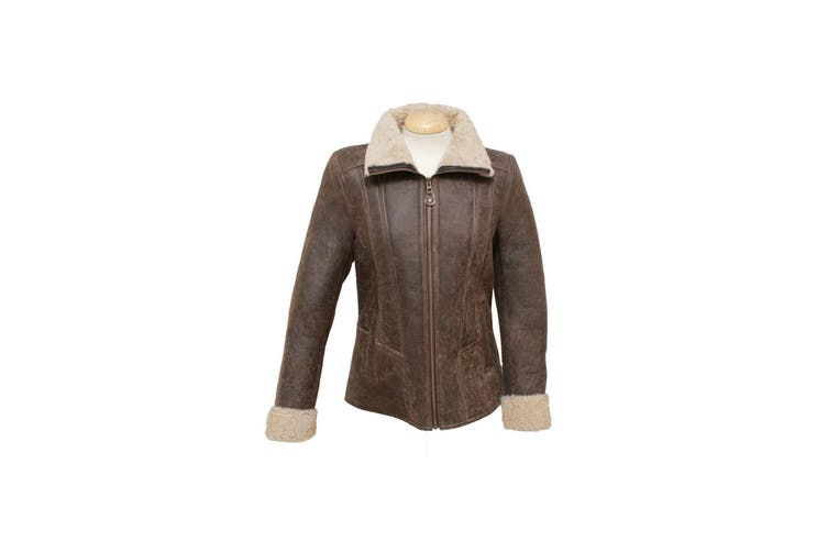 Eastern Counties Leather Womens/Ladies Krissy Aviator Sheepskin Coat (Chocolate Forest) (10)