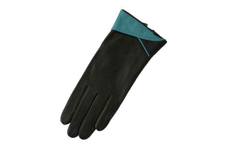 Eastern Counties Leather Womens/Ladies Contrast Cuff Leather Gloves (Aqua) (L)