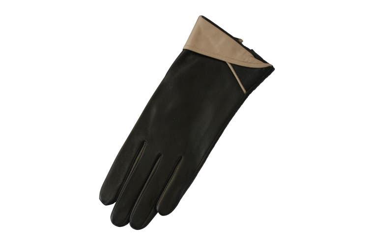 Eastern Counties Leather Womens/Ladies Contrast Cuff Leather Gloves (Beige) (L)