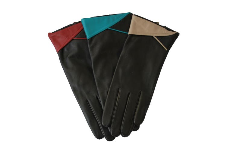 Eastern Counties Leather Womens/Ladies Contrast Cuff Leather Gloves (Red) (XL)