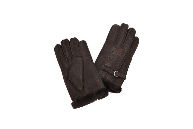 Eastern Counties Leather Womens/Ladies Buckle Detail Sheepskin Gloves (Coffee) (L)