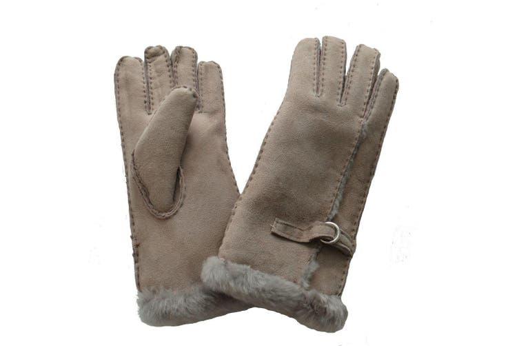 Eastern Counties Leather Womens/Ladies Buckle Detail Sheepskin Gloves (Beige) (L)