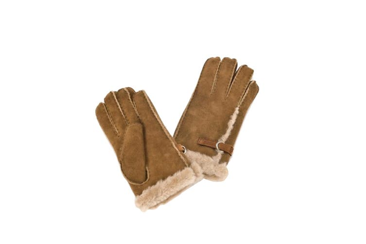 Eastern Counties Leather Womens/Ladies Buckle Detail Sheepskin Gloves (Tan) (XL)