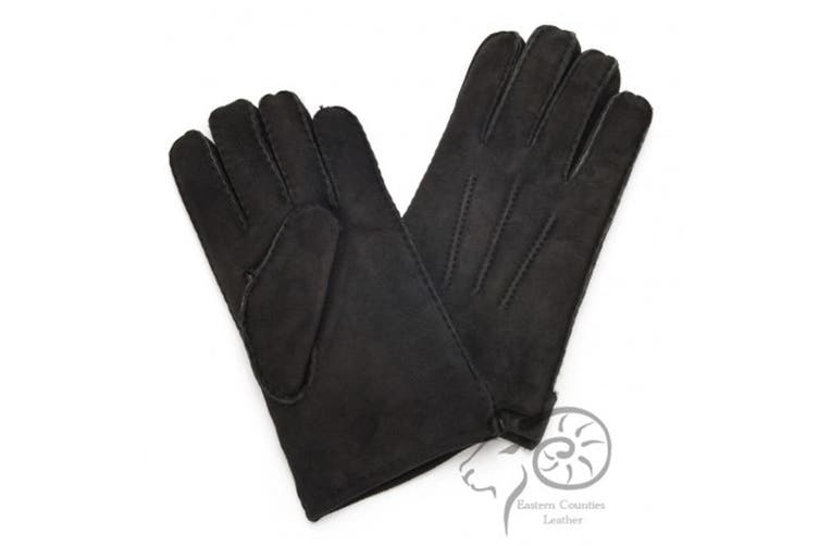 Eastern Counties Leather Mens 3 Point Stitch Sheepskin Gloves (Black) (S)