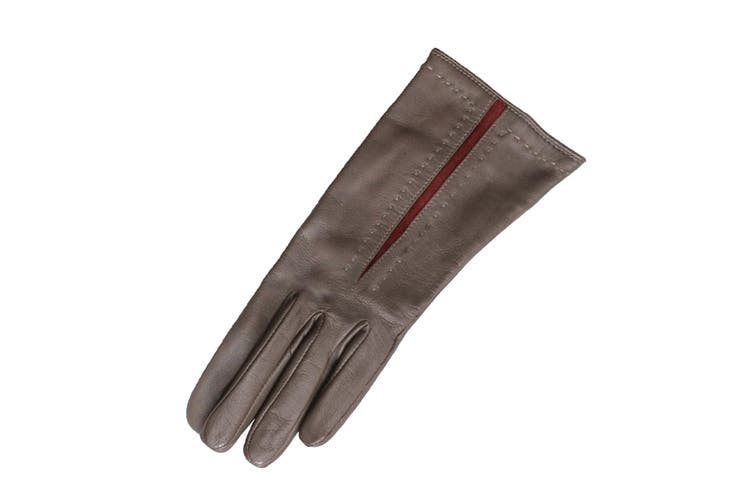 Eastern Counties Leather Womens/Ladies Sadie Contrast Panel Gloves (Elephant/Oxblood) (XL)