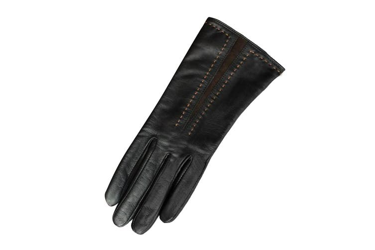Eastern Counties Leather Womens/Ladies Sadie Contrast Panel Gloves (Black/Brown) (M)