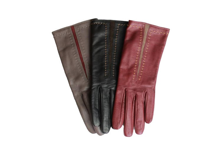 Eastern Counties Leather Womens/Ladies Sadie Contrast Panel Gloves (Taupe/Oxblood) (M)