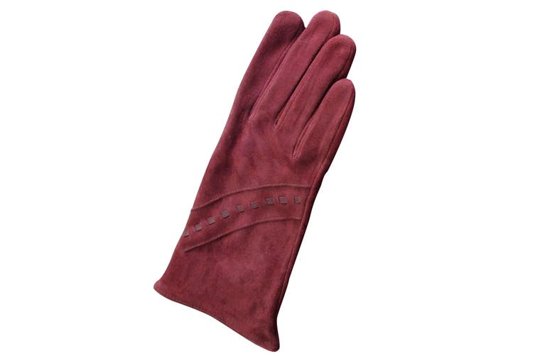 Eastern Counties Leather Womens/Ladies Sian Suede Gloves (Oxblood) (L)