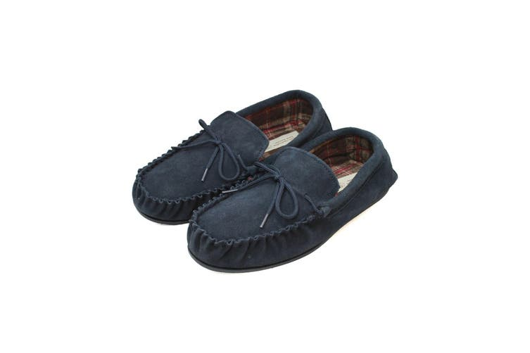 Eastern Counties Leather Mens Fabric Lined Moccasins (Navy) (7 UK)