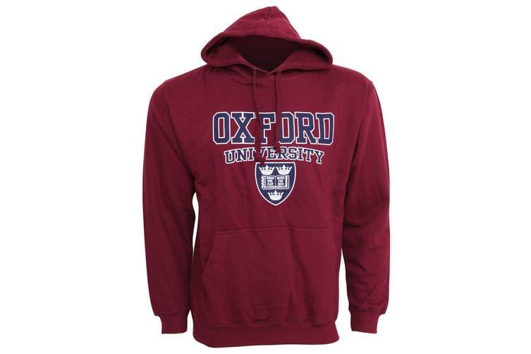 Mens Oxford University Print Hooded Sweatshirt Jumper/Hoodie Top (Maroon) (XXL - 50inch - 52inch)