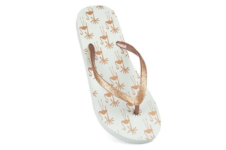 Sandrocks Womens/Ladies Tropical Flamingo Flip Flops (Grey) (3/4 UK)