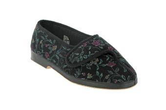 GBS Wilma Ladies Wide Fit Slipper / Womens Slippers (Black) - UTFS121