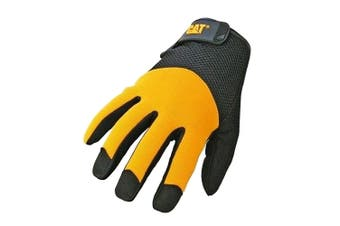 Caterpillar 12215 Durable Padded Palm Gloves / Mens Gloves / Gloves (Black/Yellow) (Large)