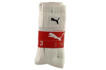 Puma Crew Sport Socks 3 Pair Pack / Mens Socks (White) (6-8 UK)