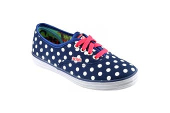 Skechers SK85494 Canvas Spotty Girls Shoes (Navy/White) (12.5 UK Junior)