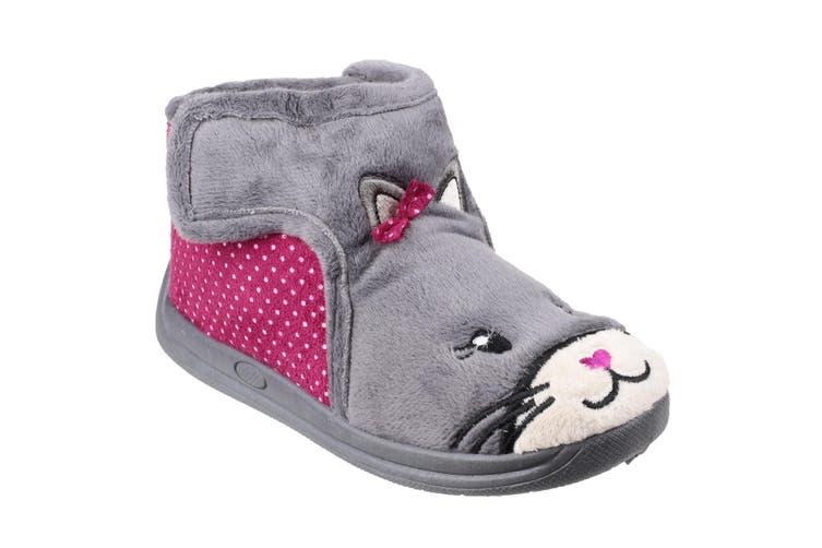 Mirak Childrens Girls Kitty Slippers (Grey) (25 EUR)