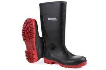 Centek Unisex FS338 Compactor Waterproof Safety Wellington Boots (Black/Red) (10.5 UK)