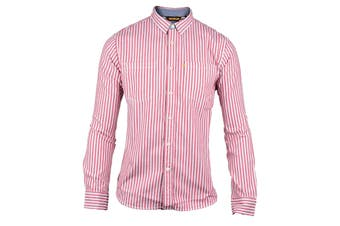CAT Lifestyle Mens C2611092 M Street Long Sleeve Striped Shirt (Red) (XL)