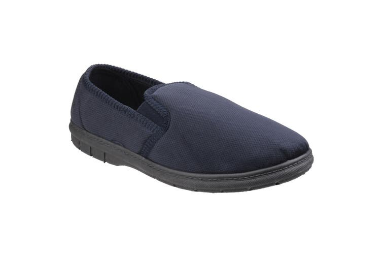 Fleet & Foster Mens John Twin Gusset Memory Foam Slipper (Navy) (11 UK)
