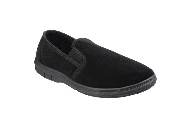Fleet & Foster Mens John Twin Gusset Memory Foam Slipper (Black) (11 UK)