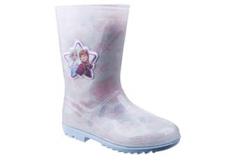 Leomil Childrens Girls Frozen Elsa Snow Flake Wellington (White/Pink) (7.5 Child UK)