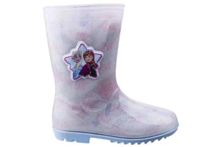 Leomil Childrens Girls Frozen Elsa Snow Flake Wellington (White/Pink) (11.5 Child UK)