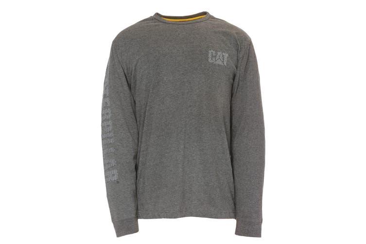 Caterpillar Mens Custom Banner Long Sleeve Tee (Dark Grey) (M)