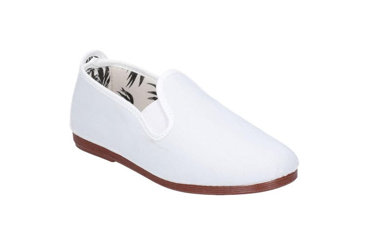 Flossy Crack Junior Girls Slip On Leather Shoe (White) (10 Child UK)