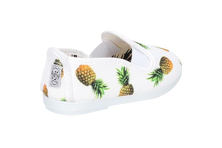 Flossy Frassy Infants Girls Leather Slip On Shoe (White) (7 Child UK)