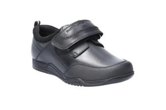 Hush Puppies Boys Noah Junior Touch Fastening Leather School Shoe (Black) (13.5 UK Child)