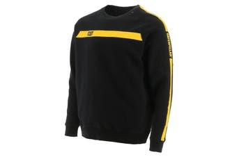 Caterpillar Mens Icon Stripe Crew Neck Sweater (Black/Yellow) - UTFS6784