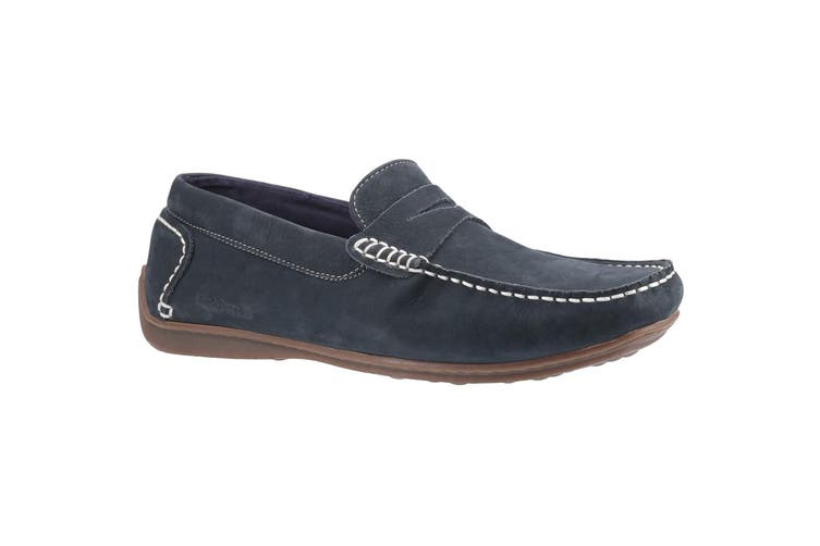 Hush Puppies Mens Roscoe Slip On Leather Shoe (Navy) (10 UK)
