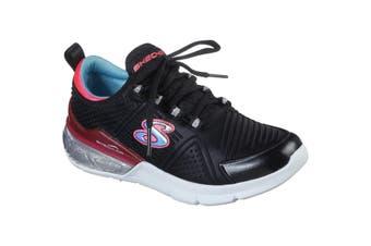 Skechers Children/Kids Sparkle Optical Shine Sports Shoe (Black/Coral) (13.5 UK Child)