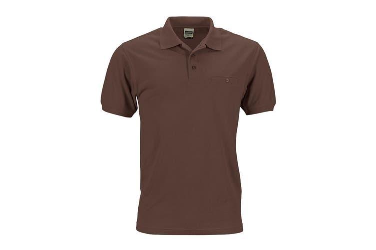 James and Nicholson Mens Workwear Polo Pocket Shirt (Brown) (L)