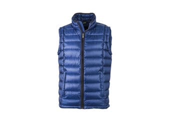 James and Nicholson Mens Quilted Down Vest (Ink Blue/Black) (XL)