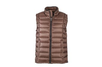 James and Nicholson Mens Quilted Down Vest (Coffee/Black) (XL)