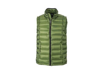 James and Nicholson Mens Quilted Down Vest (Jungle Green/Black) (XL)